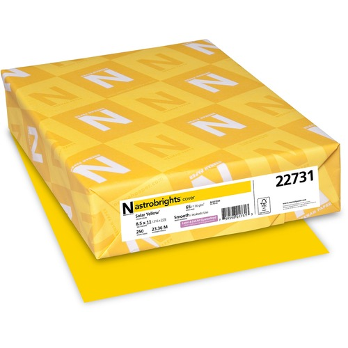 """Astrobrights Inkjet, Laser Printable Multipurpose Card - Solar Yellow - Letter - 8 1/2"""" x 11"""" - 65 lb Basis Weight - Smooth - 250 / Pack - FSC"""