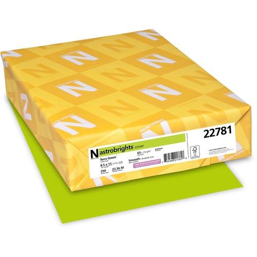 "Astrobrights Inkjet, Laser Printable Multipurpose Card - Terra Green - Letter - 8 1/2"" x 11"" - 65 lb Basis Weight - Smooth - 250 / Pack - FSC, Green Seal"