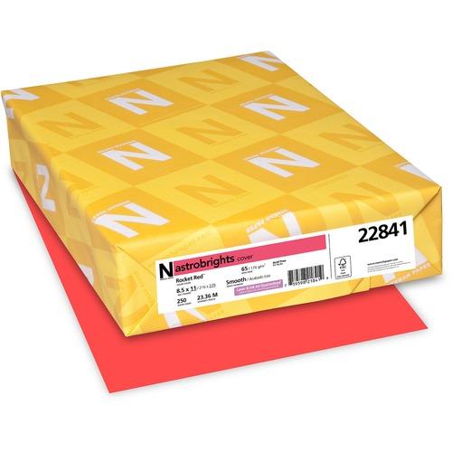 "Astrobrights Inkjet, Laser Printable Multipurpose Card - Rocket Red - Letter - 8 1/2"" x 11"" - 65 lb Basis Weight - Smooth - 250 / Pack - FSC, Green Seal"