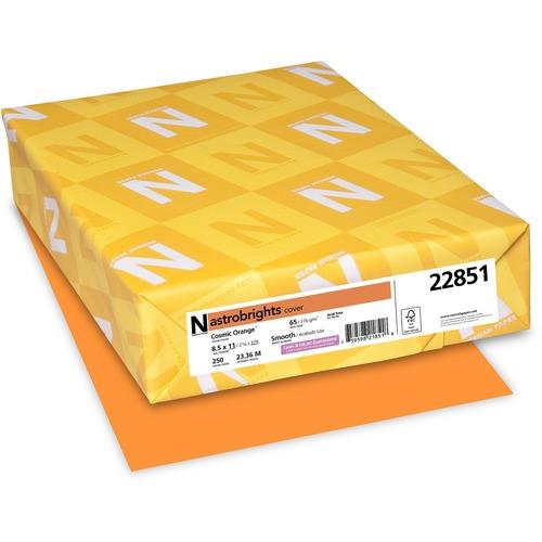 """Astrobrights Inkjet, Laser Printable Multipurpose Card - Cosmic Orange - Letter - 8 1/2"""" x 11"""" - 65 lb Basis Weight - Smooth - 250 / Pack - FSC"""