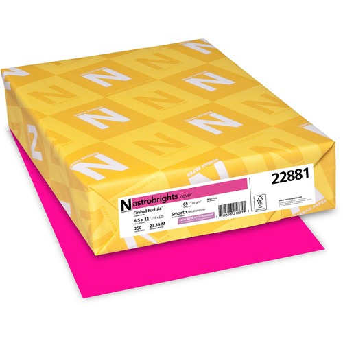 "Astrobrights Inkjet, Laser Printable Multipurpose Card - Fireball Fuchsia - Letter - 8 1/2"" x 11"" - 65 lb Basis Weight - Smooth - 250 / Pack - FSC"