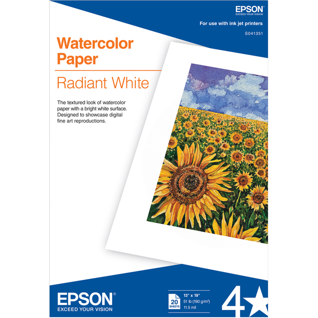 Watercolor Radiant White, Super B Size(13 in x 19 in), 20 sheets