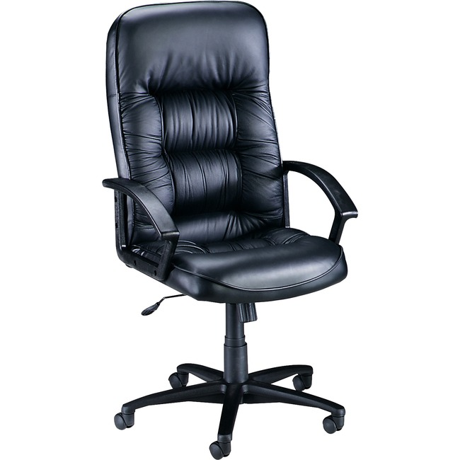 Lorell Tufted Leather Executive High Back Chair Leather Black Seat Black