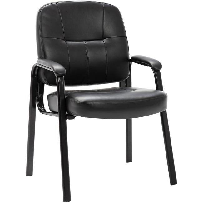 Lorell Chadwick Executive Leather Guest Chair Leather Black Seat Steel Bl