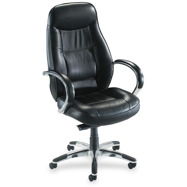 Lorell Ridgemoor Executive High Back Swivel Chair Leather Black Seat Alum