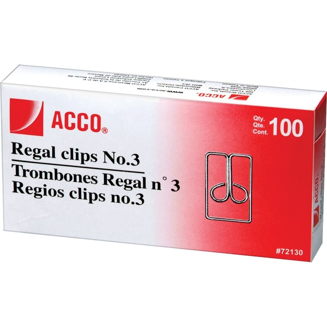 ACCO® Regal Clips (Owl Clips), Smooth Finish, #3 Size, 100/Box