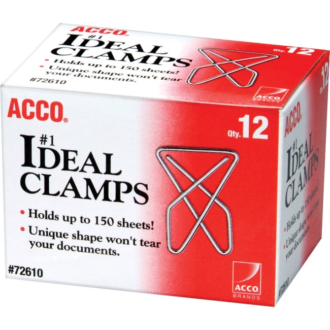 ACCO® Ideal Paper Clamp (Butterfly Clamp), Smooth Finish, #1 Size (Large), 12/Box