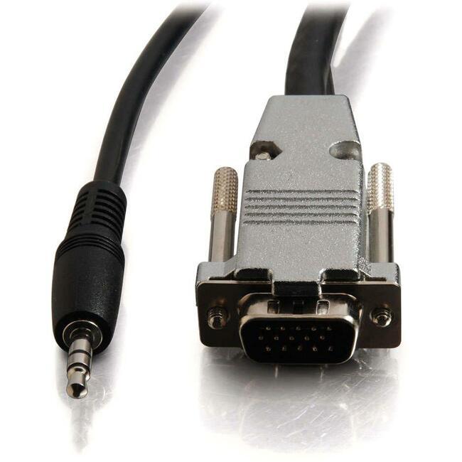 C2G 15ft Plenum-Rated HD15 UXGA + 3.5mm M/M Audio Cable