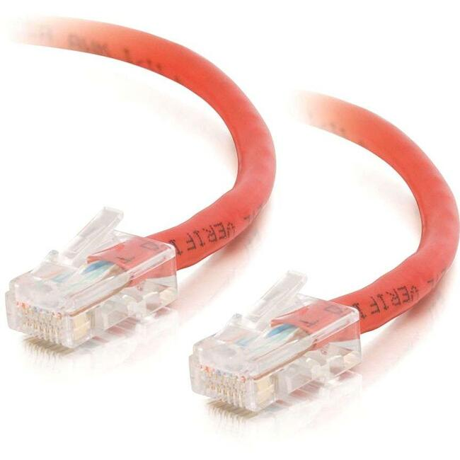 100ft Cat5E Non-Booted Crossover Unshielded (UTP) Network Patch Cable - Red