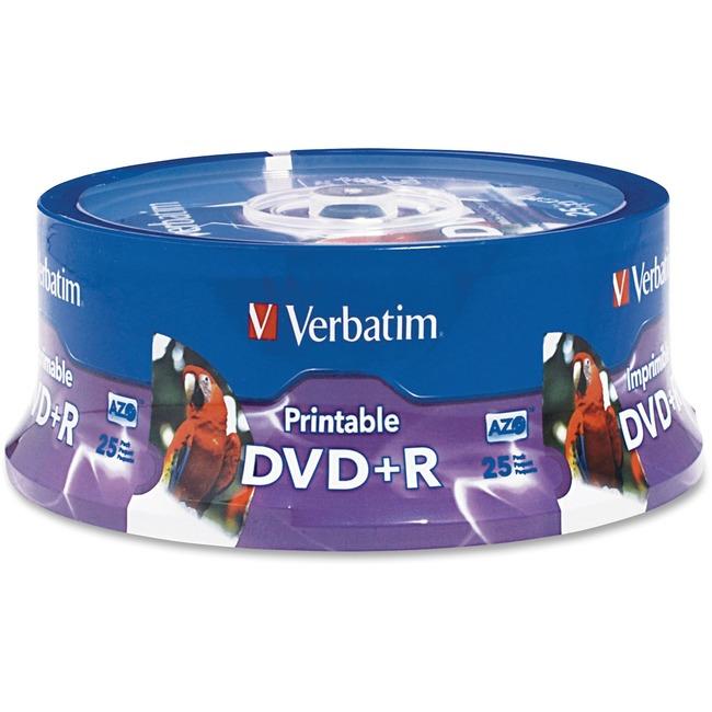 Verbatim DVD+R 4.7GB 16X White Inkjet Printable, Hub Printable - 25pk Spindle - TAA Compliant