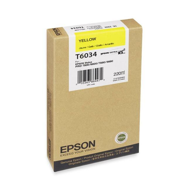 EPSON - PRO GRAPHIC PRINTERS YELLOW 220ML ULTRACHROME K3 STYLUS PRO 7800 7880 9800 9880