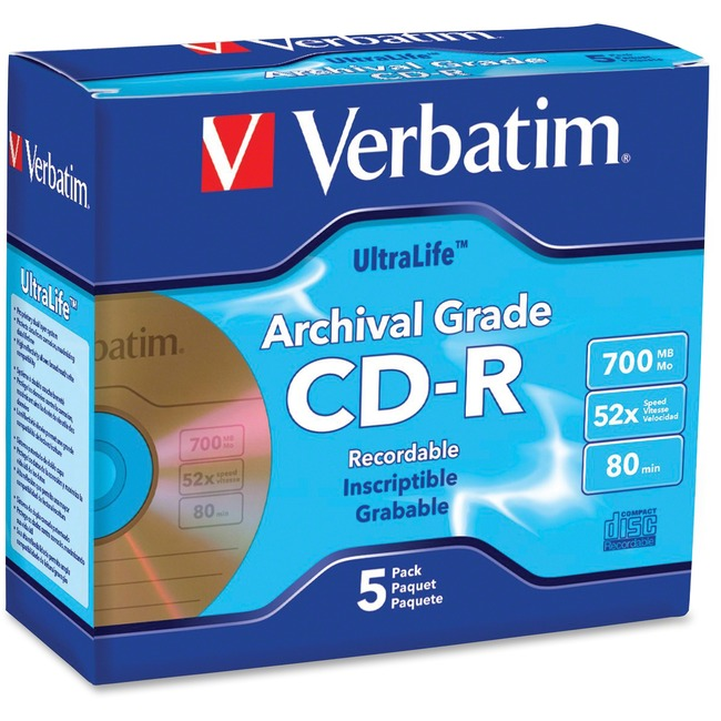 Verbatim CD-R 700MB 52X UltraLife Gold Archival Grade with Branded Surface and Hard Coat - 5pk Jewel Case