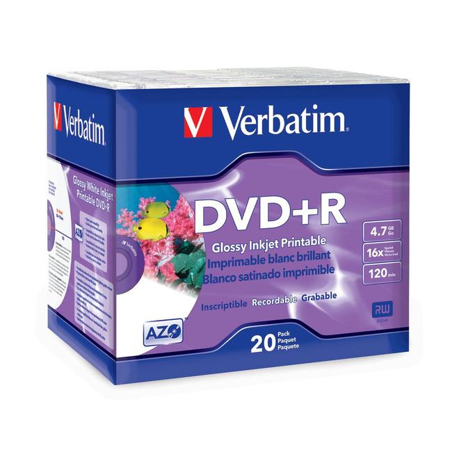 Verbatim DVD+R 4.7GB 16X White Glossy Inkjet Printable with Branded Hub - 20pk Slim Case