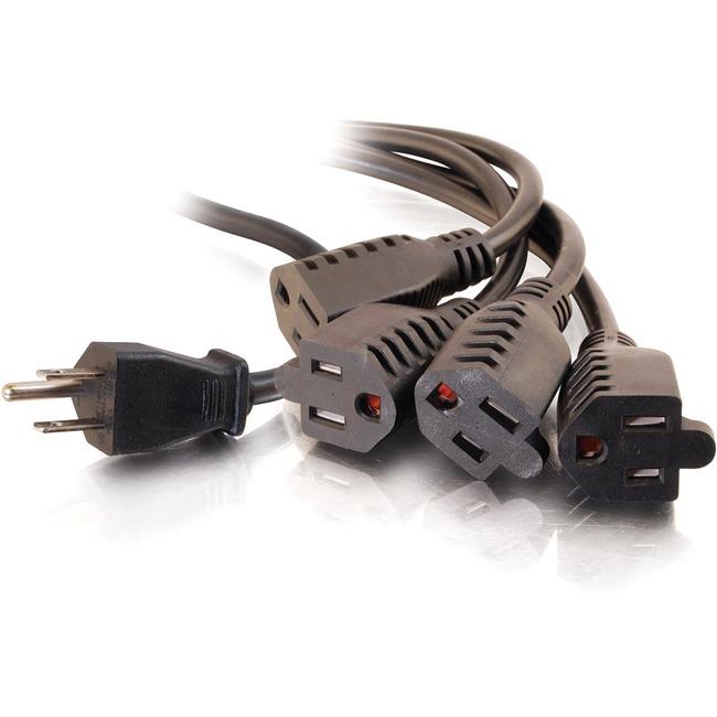 C2G 3ft 16 AWG 1-to-4 Power Cord Splitter (1 NEMA 5-15P to 4 NEMA 5-15R)
