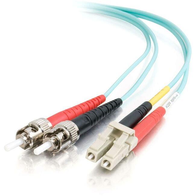 2m LC-ST 10Gb 50/125 OM3 Duplex Multimode PVC Fiber Optic Cable | Aqua