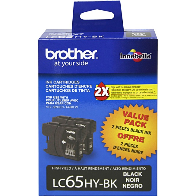 BROTHER - SUPPLIES 2PK LC652PKS BLK INK CARTRIDGES HIGH YIELD F/ MFC-6490CW