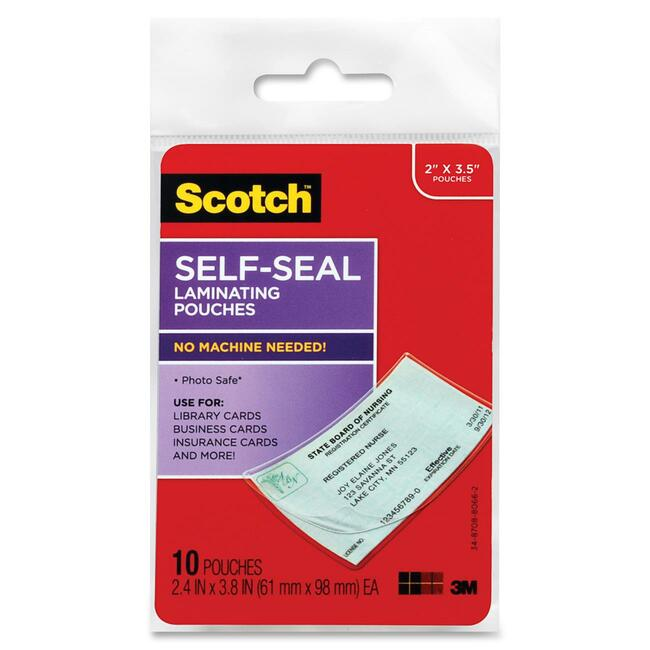 10PK SELF SEAL LAMINATING POUCHES BUS ID