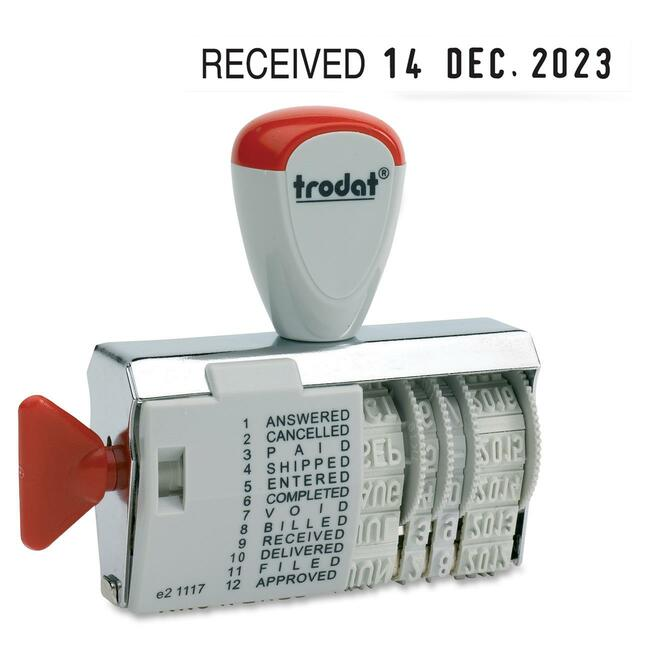 Trodat Dial-A-Word Date Stamp 1117 in French 12 Phrases
