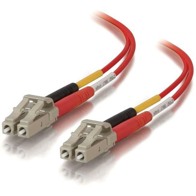 10m LC-LC 50/125 OM2 Duplex Multimode Fiber Optic Cable (Plenum-Rated) - Red