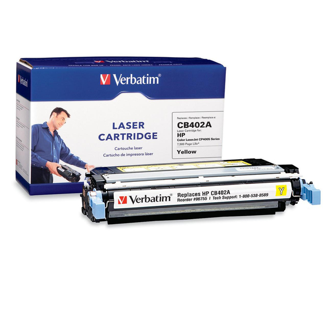 Verbatim HP CB402A Yellow Remanufactured Laser Toner Cartridge - TAA Compliant