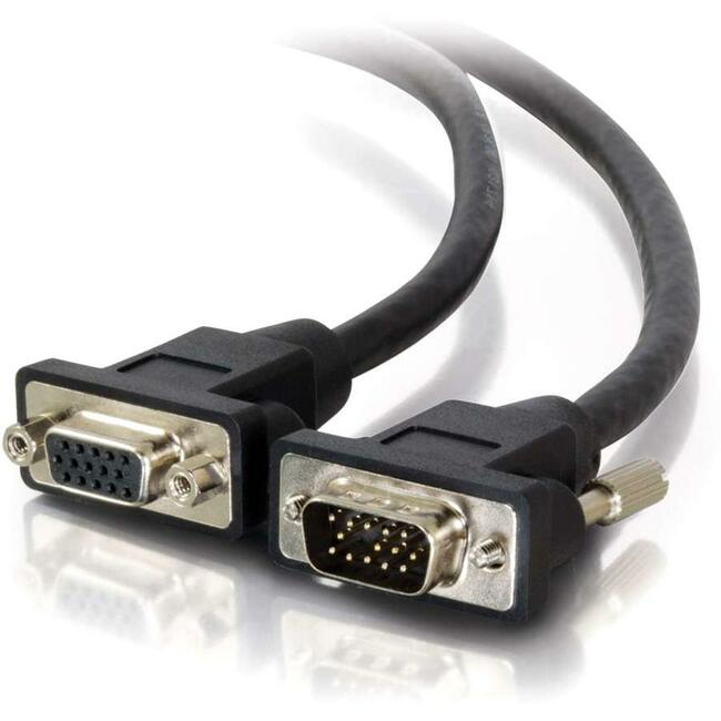C2G 15ft Panel-Mount Plenum-Rated HD15 UXGA M/F Extension Cable