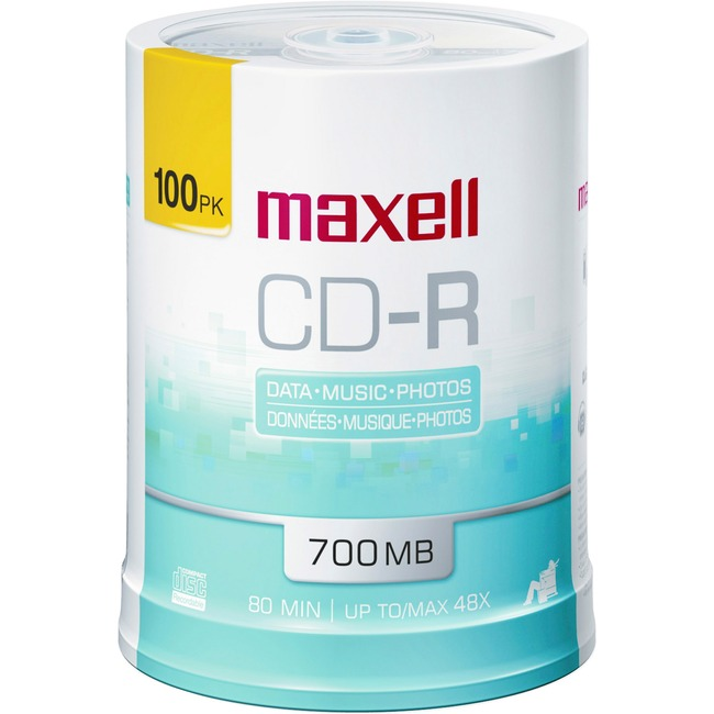 Maxell CD Recordable Media - CD-R - 48x - 700 MB - 100 Pack Spindle