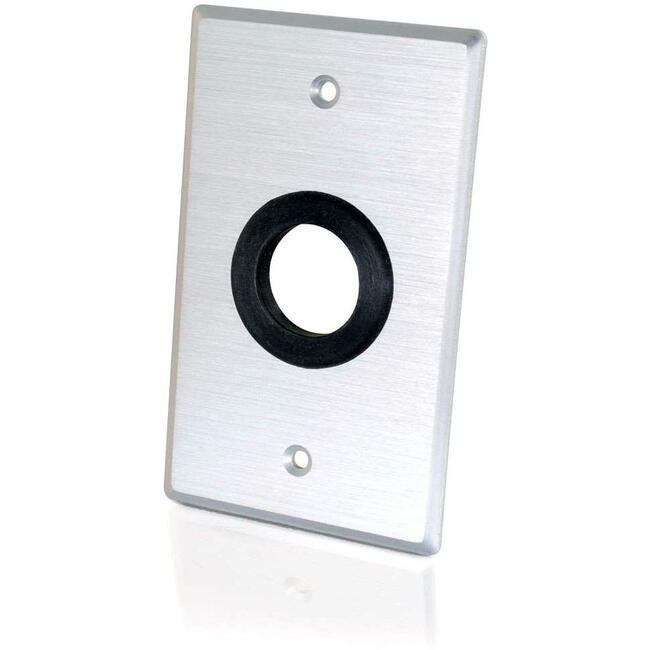 C2G Single Gang 1in Grommet Wall Plate - Brushed Aluminum