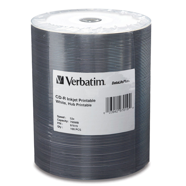 Verbatim CD-R 700MB 52X White Inkjet Printable, Hub Printable - 100pk Tape Wrap
