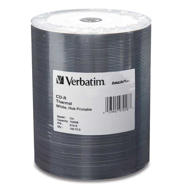 Verbatim CD-R 700MB 52X DataLifePlus White Thermal Printable, Hub Printable - 100pk Tape Wrap