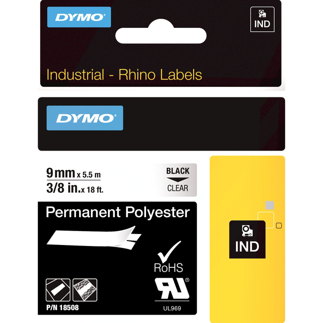 DYMO 3/8IN CLEAR PERMANENT POLY .