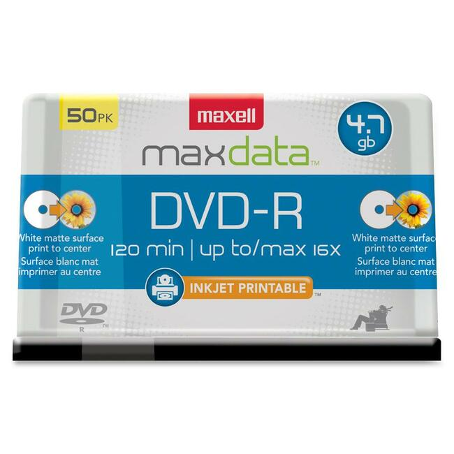 Maxell DVD Recordable Media - DVD-R - 16x - 4.70 GB - 50 Pack Spindle - Bulk