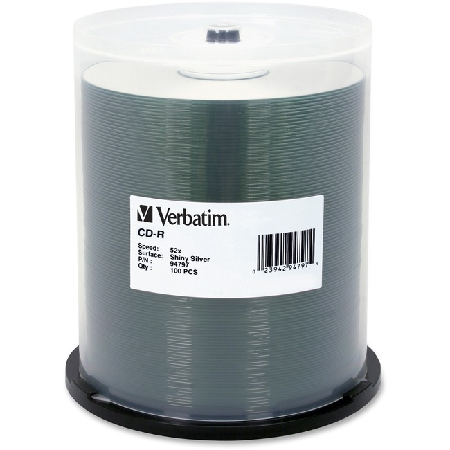 Verbatim CD-R 700MB 52X DataLifePlus Shiny Silver Silk Screen Printable - 100pk Spindle
