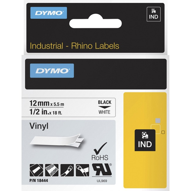 DYMO RHINO 0.50IN WHITE VINYL TAPE .