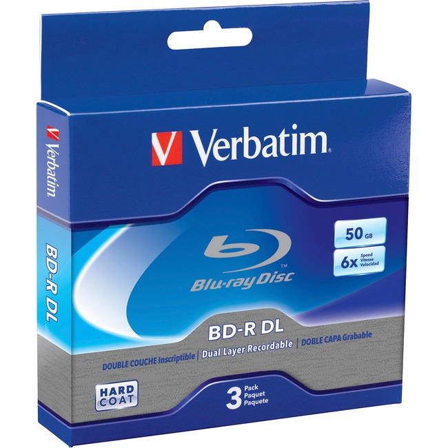 Verbatim BD-R DL 50GB 6X with Branded Surface - 3pk Jewel Case Box - TAA Compliant