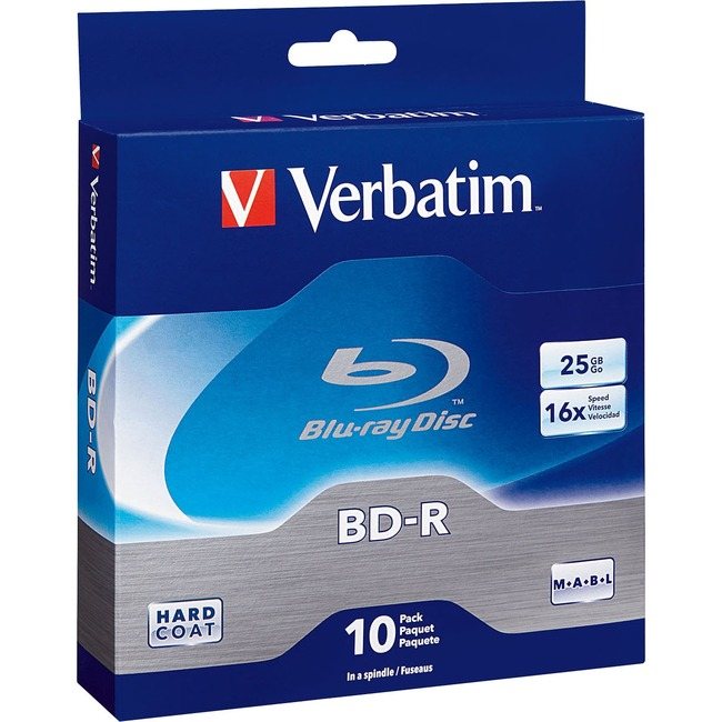 Verbatim BD-R 25GB 6X with Branded Surface - 10pk Spindle Box - TAA Compliant