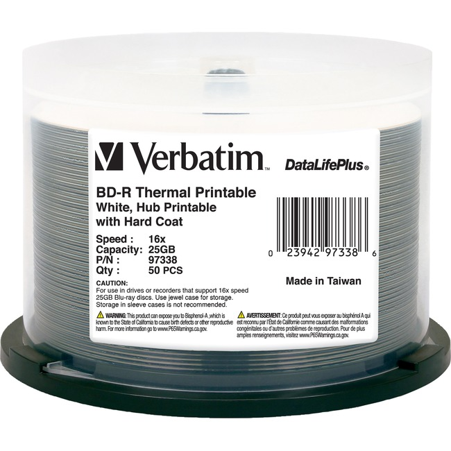 Verbatim BD-R 25GB 6X DataLifePlus White Thermal Printable, Hub Printable - 50pk Spindle - TAA Compliant