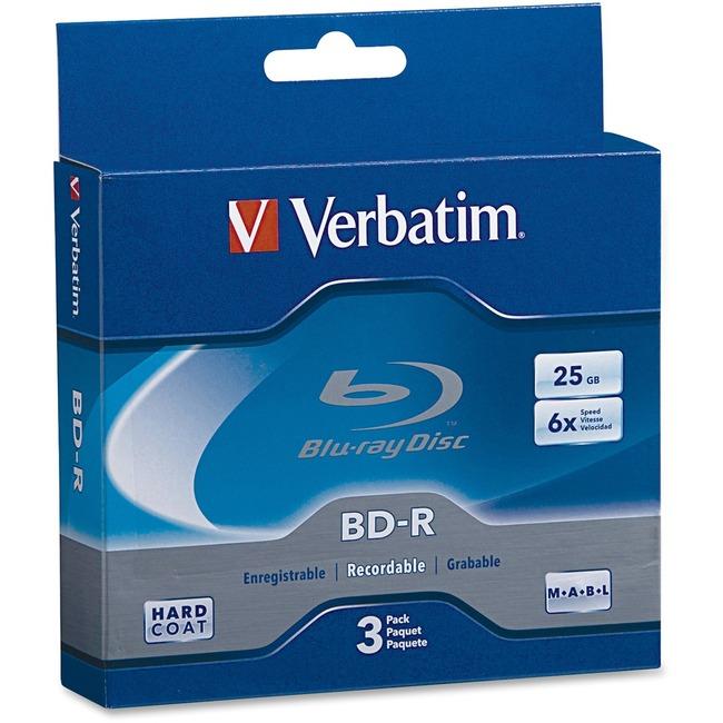 Verbatim BD-R 25GB 6X with Branded Surface - 3pk Jewel Case Box - TAA Compliant