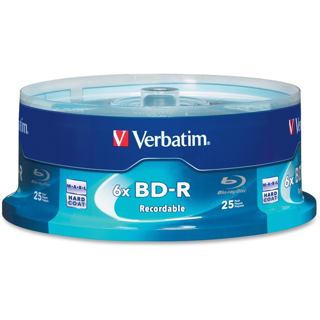 Verbatim BD-R 25GB 6X with Branded Surface - 25pk Spindle Box - TAA Compliant