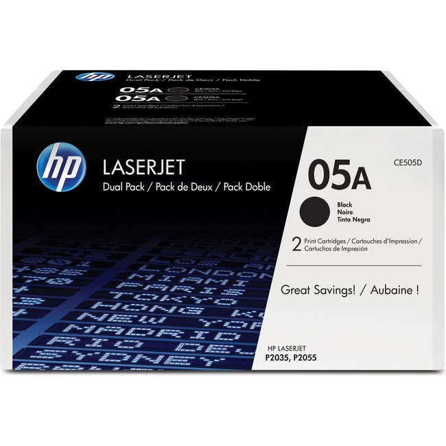 HP 05A (CE505D) 2-pack Black Original LaserJet Toner Cartridges