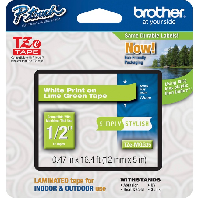 Brother TZe-MQG35 White on Lime Green Label Tape
