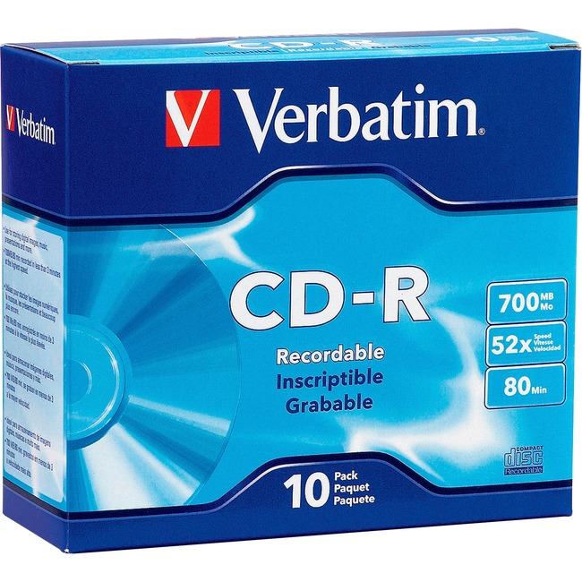 Verbatim AZO CD-R 700MB 52X DataLifePlus with Branded Surface - 10pk Slim Case
