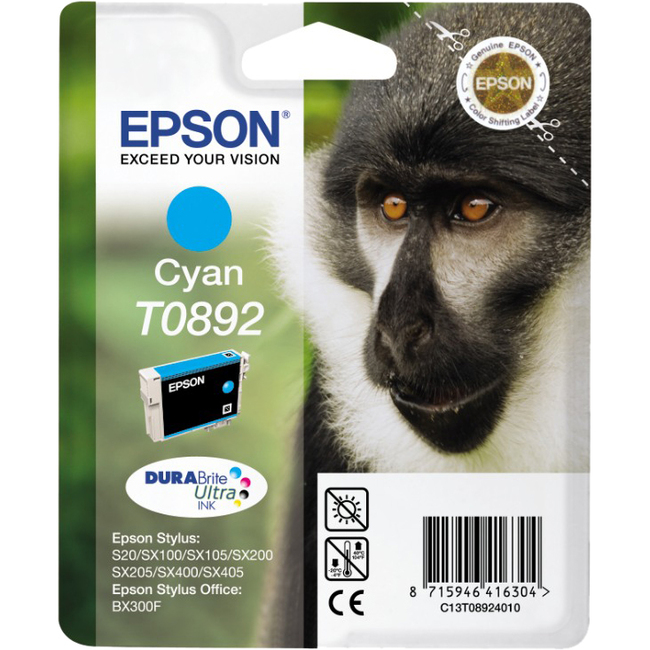 Epson DURABrite Ultra T0892 Ink Cartridge - Cyan