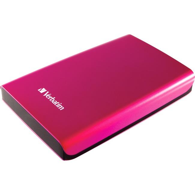 Verbatim 500GB Store 'n' Go Portable Hard Drive, USB 3.0 - Pink