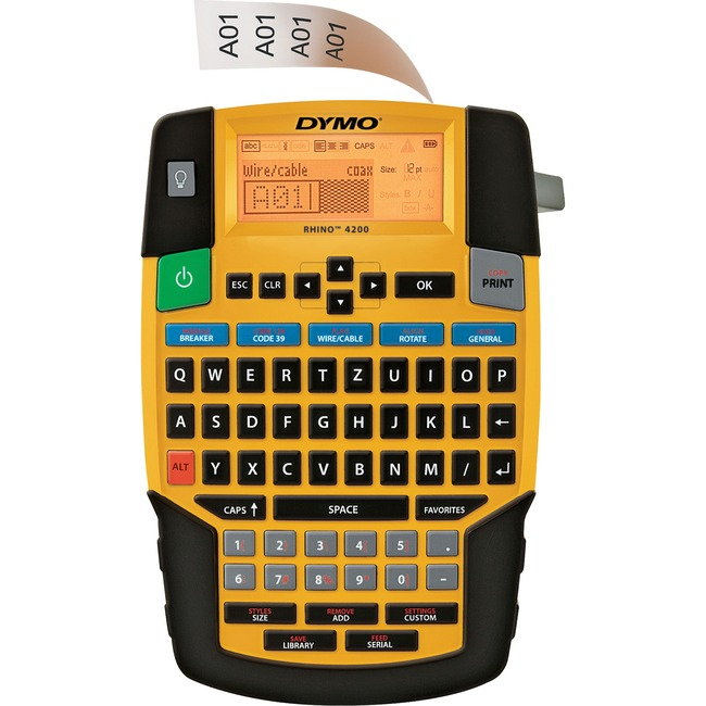 DYMO RHINO 4200 INDUSTRIAL LABELER. ONE-TOUCH HOT KEY SHORTCUTS HELPS GET LABELI