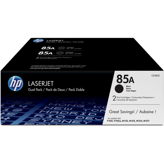 HP 85A (CE285D) 2-pack Black Original LaserJet Toner Cartridges