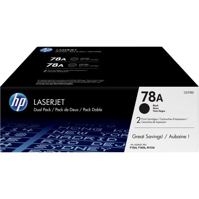 HP 78A Toner Cartridge - Black - Laser - 2100 Page - 2 Pack
