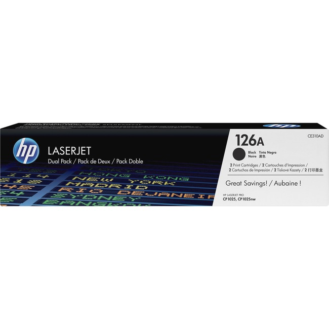 HP 126A (CE310AD) 2-pack Black Original LaserJet Toner Cartridges