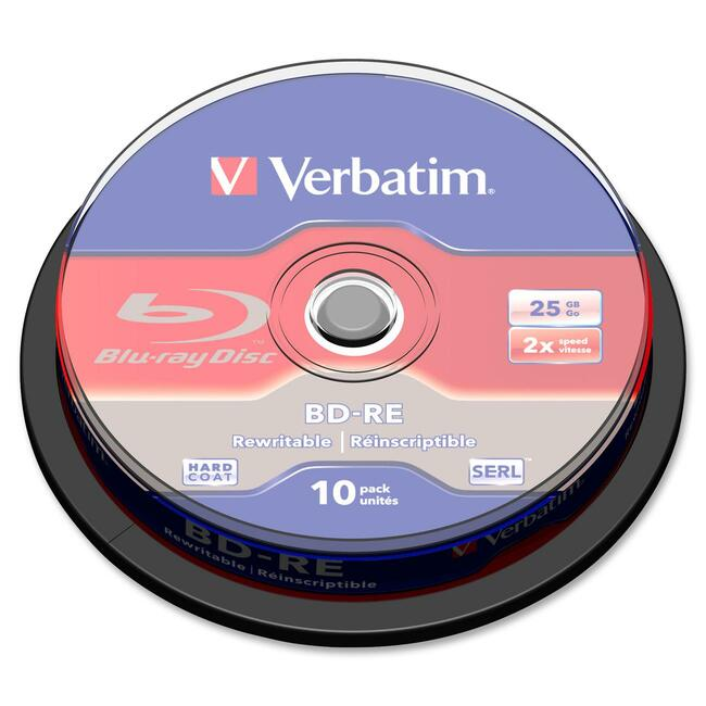 Verbatim BD-RE 25GB 2X with Branded Surface - 10pk Spindle Box - TAA Compliant