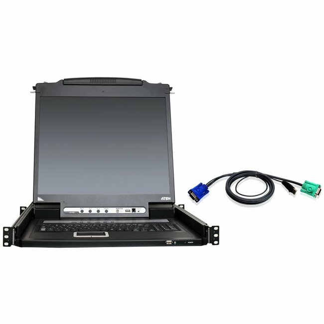 "Aten 16-Port 19"" LCD KVM Kit with 12-USB Cables"