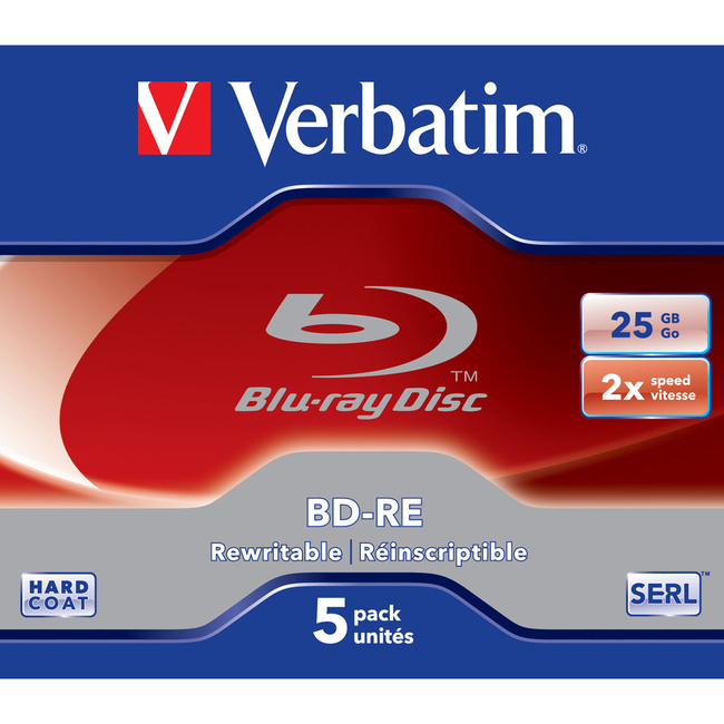 Verbatim BD-RE 25GB 2X with Branded Surface - 5pk Jewel Case - TAA Compliant